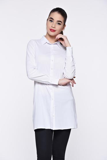 PrettyGirl white women`s shirt casual long flared
