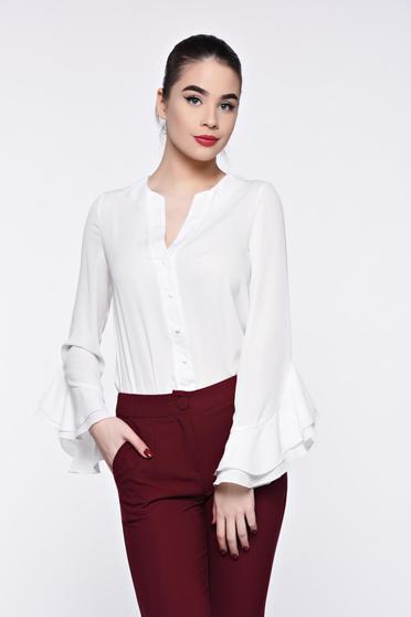PrettyGirl white women`s shirt elegant airy fabric with v-neckline