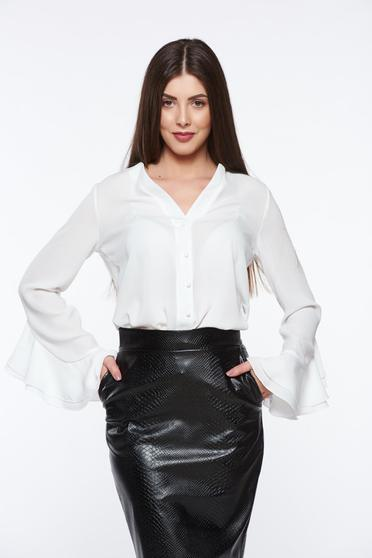 PrettyGirl white women`s shirt elegant airy fabric with v-neckline