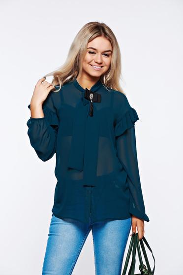 PrettyGirl green women`s shirt elegant transparent chiffon fabric with easy cut