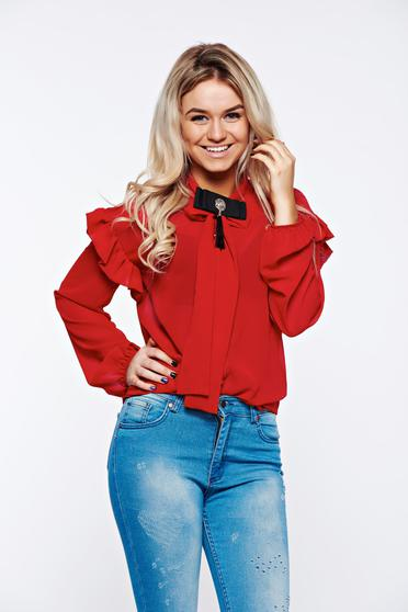 PrettyGirl red women`s shirt elegant transparent chiffon fabric with easy cut