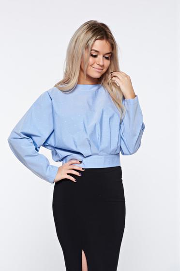 PrettyGirl lightblue women`s blouse short nonelastic cotton with easy cut