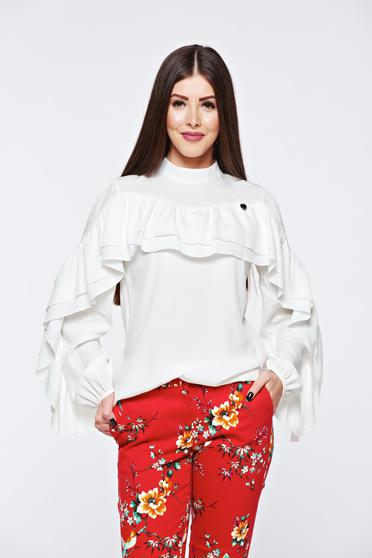 PrettyGirl white women`s blouse elegant flared airy fabric with ruffles on the chest