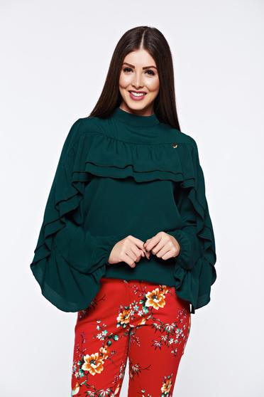PrettyGirl green women`s blouse elegant flared airy fabric with ruffles on the chest