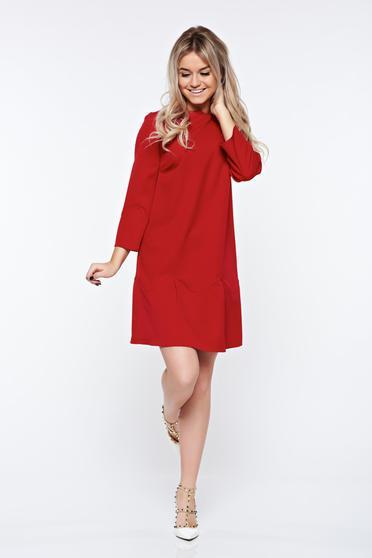 PrettyGirl red dress elegant with easy cut bow accessory