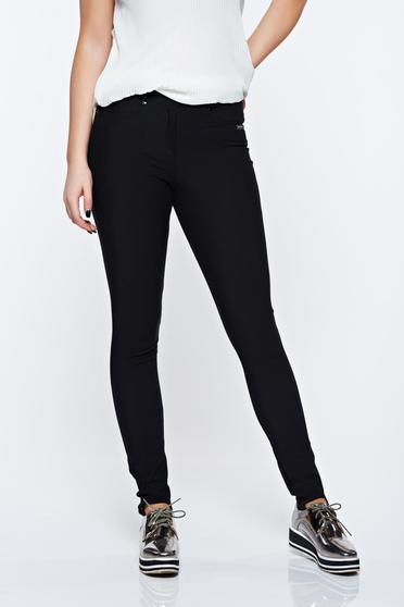 PrettyGirl black trousers casual elastic cotton with pockets