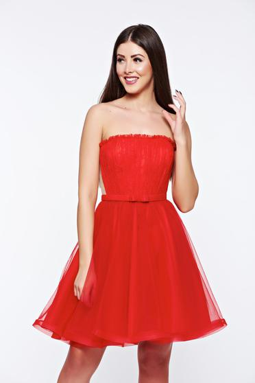 Ana Radu red dress corset from tulle with inside lining luxurious