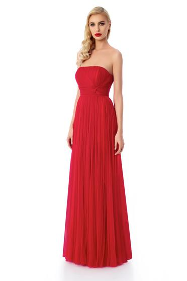 Ana Radu red luxurious off shoulder corset dress with inside lining