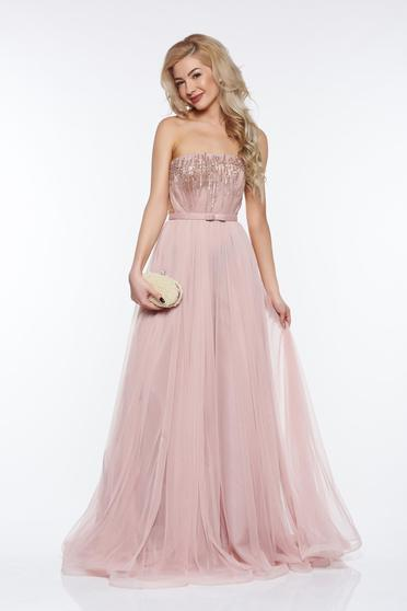 Ana Radu rosa luxurious dress with inside lining from tulle with small beads embellished details