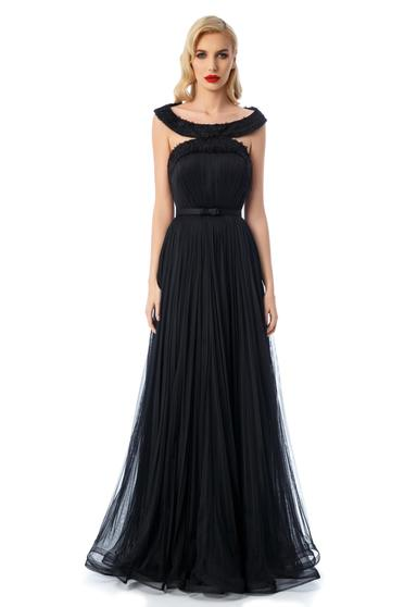 Ana Radu black luxurious dress with inside lining from tulle corset