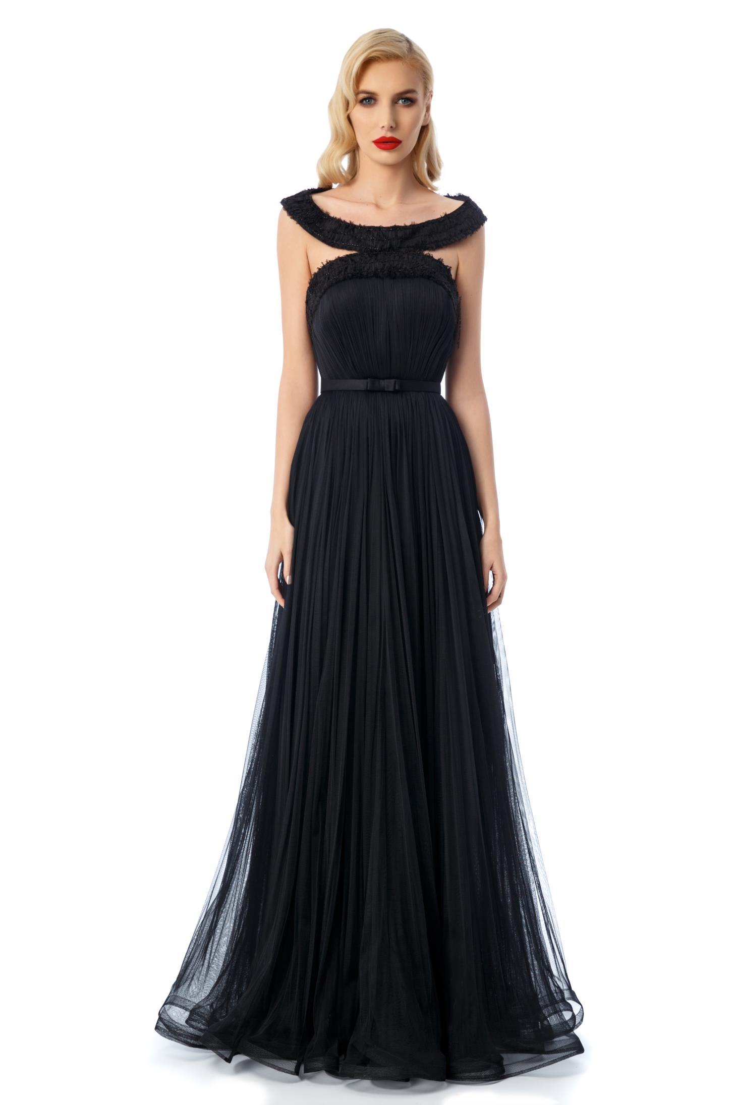 Rochie Ana Radu neagra de lux tip corset din tul captusita pe interior