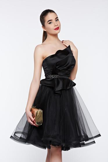 Ana Radu black dress luxurious with push-up cups with inside lining from satin fabric texture net