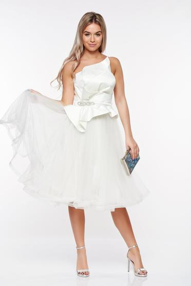 Ana Radu white luxurious dress with push-up cups with inside lining from satin fabric texture net