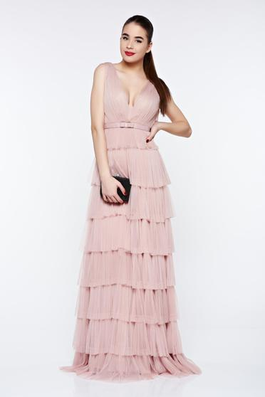 Ana Radu rosa dress luxurious with inside lining from tulle with deep cleavage