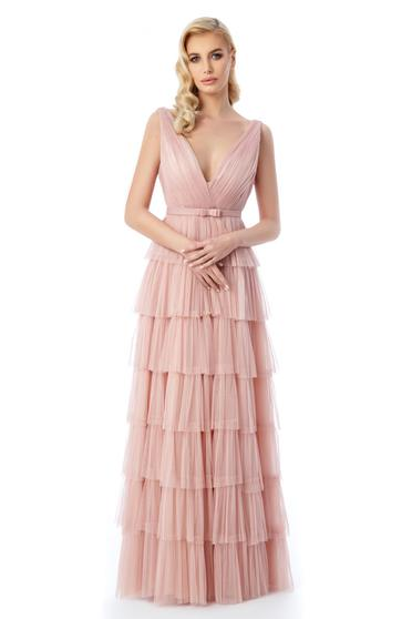 Ana Radu rosa dress luxurious with inside lining from tulle with deep cleavage with ruffle details