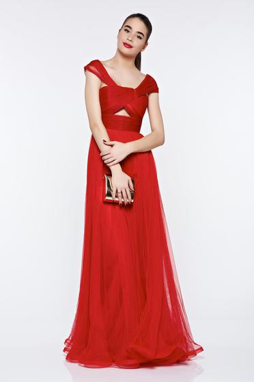 Ana Radu red dress luxurious with inside lining from tulle on the shoulders