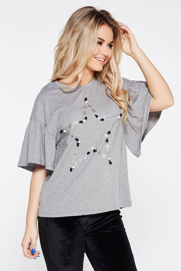 Grey t-shirt casual flared elastic cotton with pearls