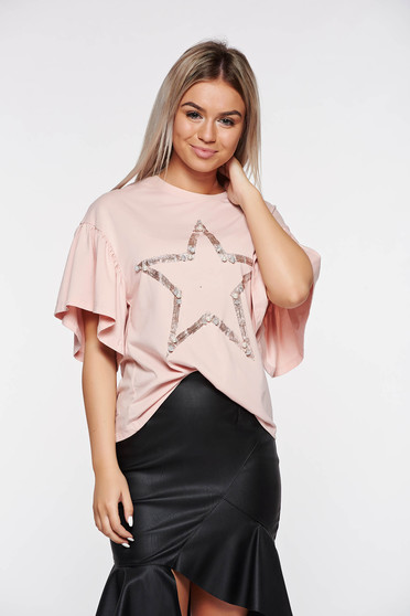 Rosa t-shirt casual flared elastic cotton with pearls