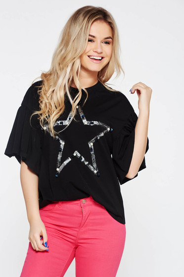 Black t-shirt casual flared elastic cotton with pearls