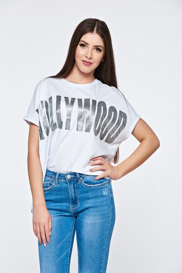 White t-shirt casual cotton asymmetrical with easy cut