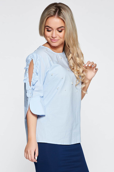 Lightblue women`s shirt cotton both shoulders cut out with pearls