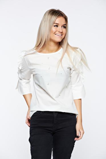 White women`s shirt cotton both shoulders cut out with pearls