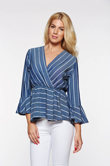 Blue women`s shirt casual with elastic waist thin fabric