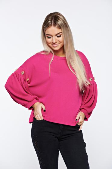Pink women`s blouse casual with bell sleeve with easy cut with pearls