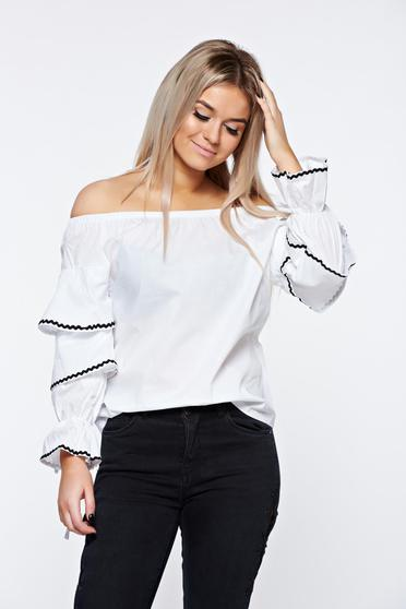 White women`s shirt casual nonelastic cotton with easy cut