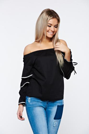 Black women`s shirt casual nonelastic cotton with easy cut