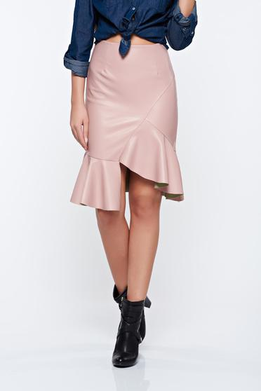 Rosa skirt casual from ecological leather with medium waist