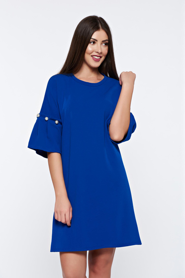 Blue dress elegant with easy cut with pearls