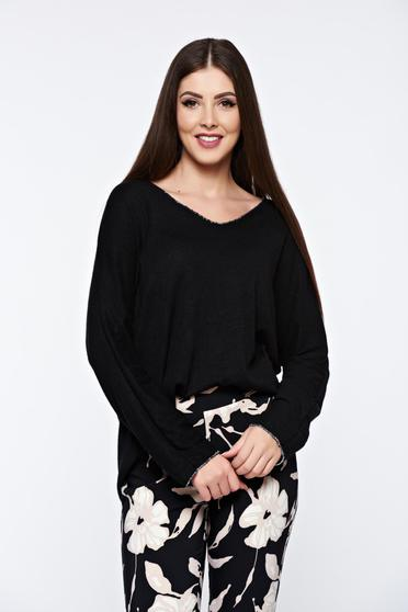 Black women`s blouse knitted flared from soft fabric