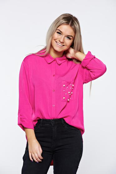 Pink women`s shirt casual airy fabric with pearls