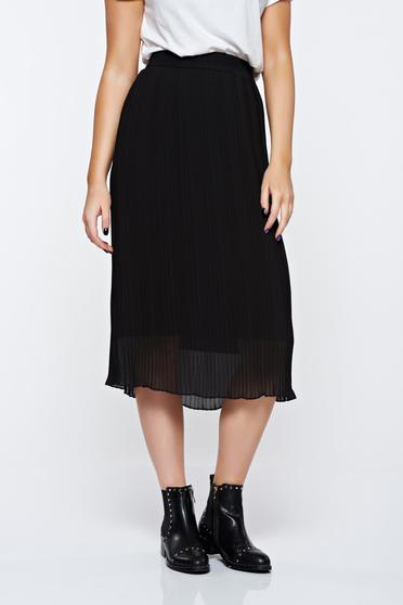 Black skirt casual with elastic waist with inside lining folded up