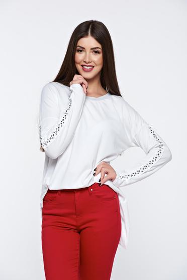 White women`s blouse casual with metallic spikes elastic cotton