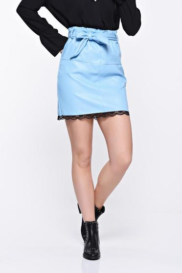 Lightblue skirt casual from ecological leather with medium waist with lace details