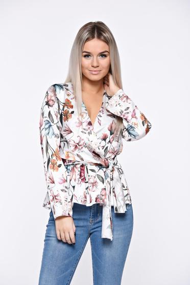 White women`s shirt with elastic waist from satin fabric texture elegant
