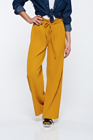 Mustard trousers airy fabric with elastic waist folded up high waisted