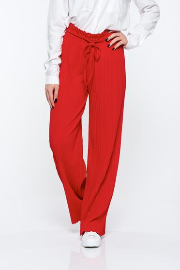 Red trousers airy fabric with elastic waist folded up high waisted