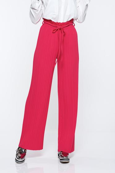 Pink trousers airy fabric with elastic waist folded up high waisted