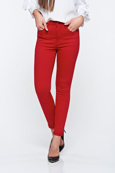 Red jeans casual cotton high waisted