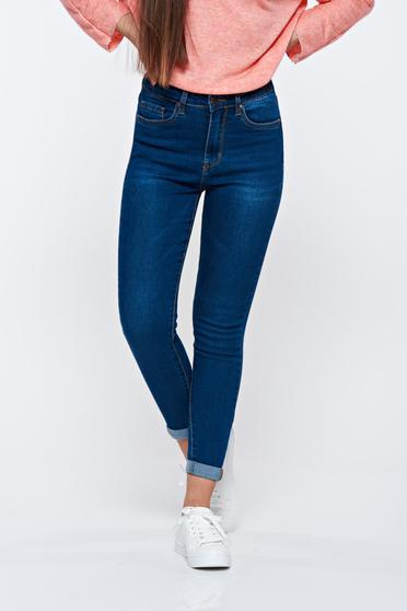 Darkblue jeans casual skinny jeans cotton high waisted