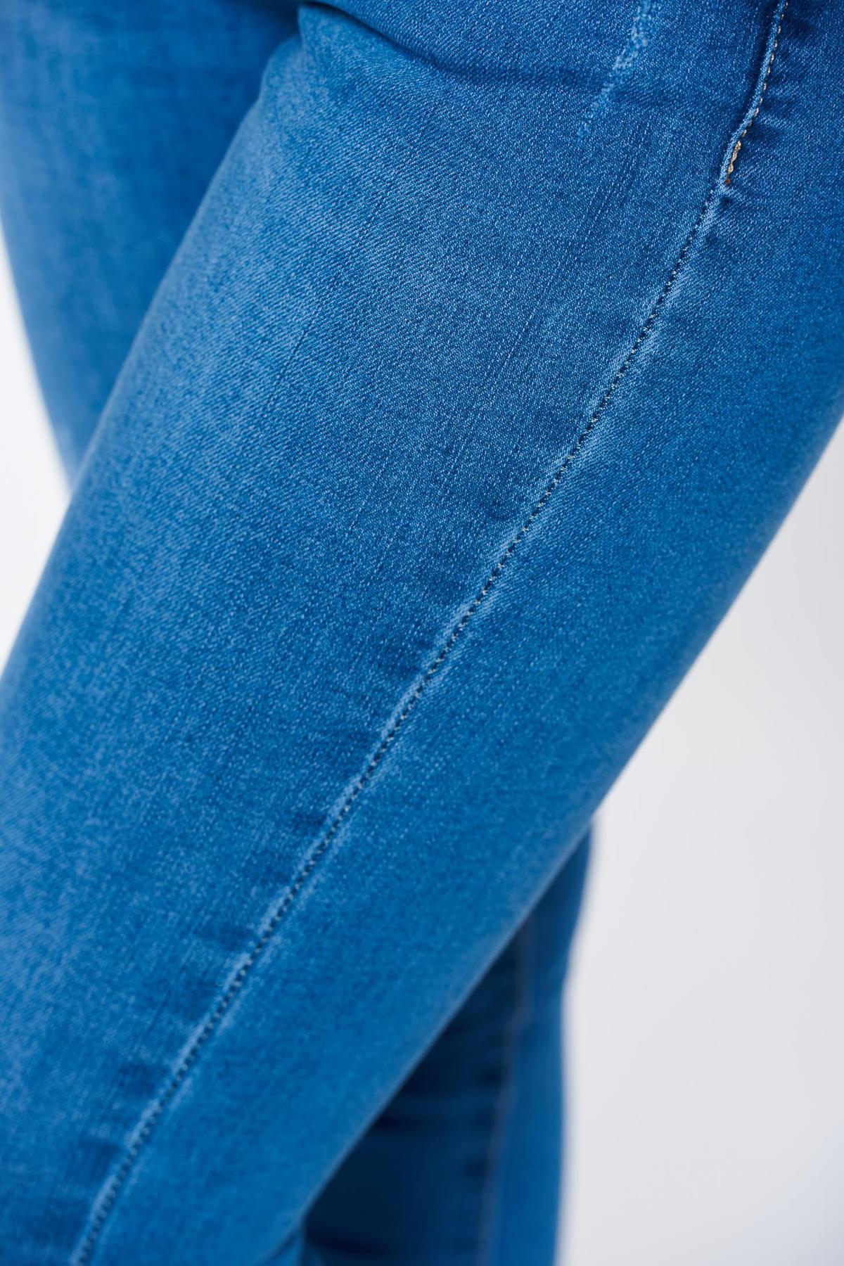 Blugi albastri deschis casual skinny din bumbac cu talie inalta