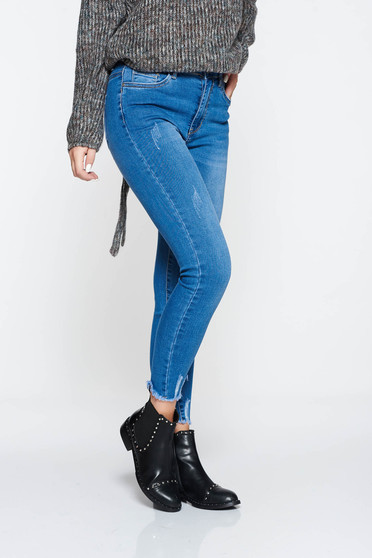 Lightblue jeans casual skinny jeans cotton high waisted