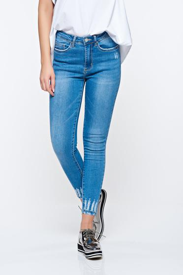 Lightblue jeans casual skinny jeans cotton with pearls