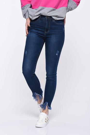 Darkblue jeans skinny jeans elastic cotton with medium waist with ruptures