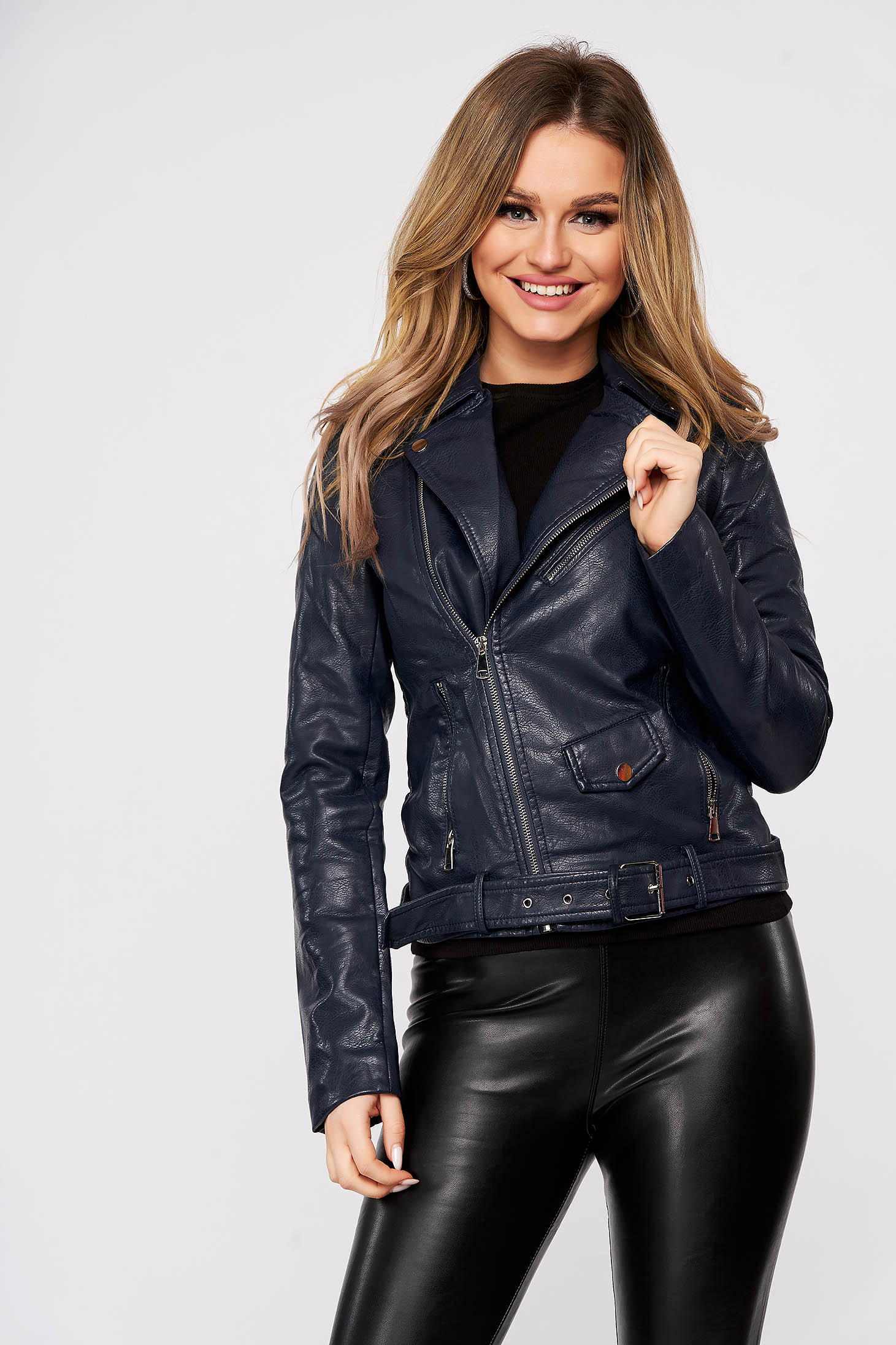Darkblue jacket casual from ecological leather with inside lining