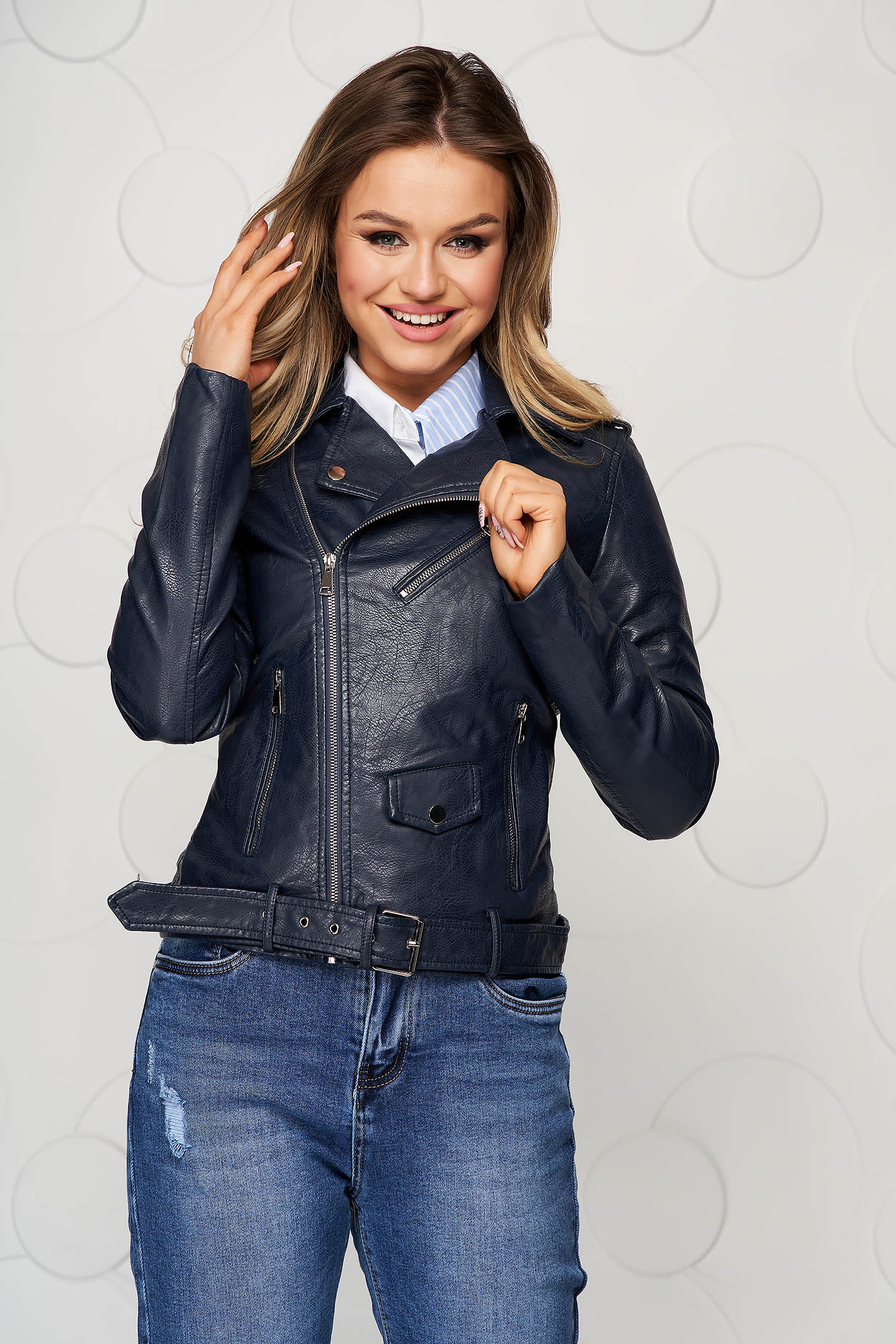 Darkblue jacket from ecological leather with pockets metallic buckle
