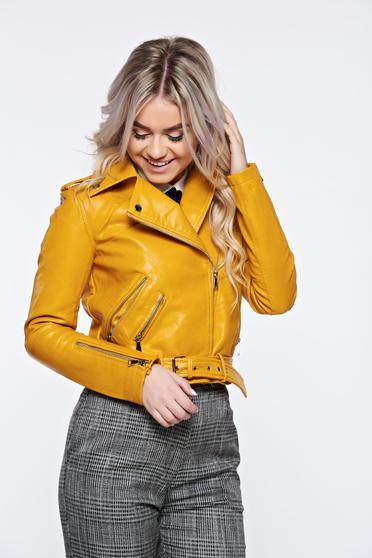 Mustard jacket casual from ecological leather with inside lining